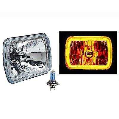 "7X6/"" Plasma Amber COB LED Halo Headlight 6k HID Light Bulb Glass Headlamp Pair"