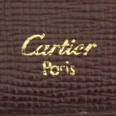 Authentic Cartier Must Line Agenda Day Planner Cover Bordeaux Leather #f135091 12