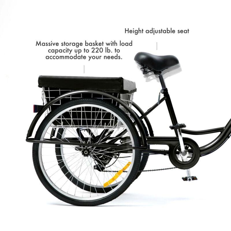 "26""/24""/20"" 8 Speed Adult Trike Tricycle 3-Wheel Bike w/Basket for Shopping 3"