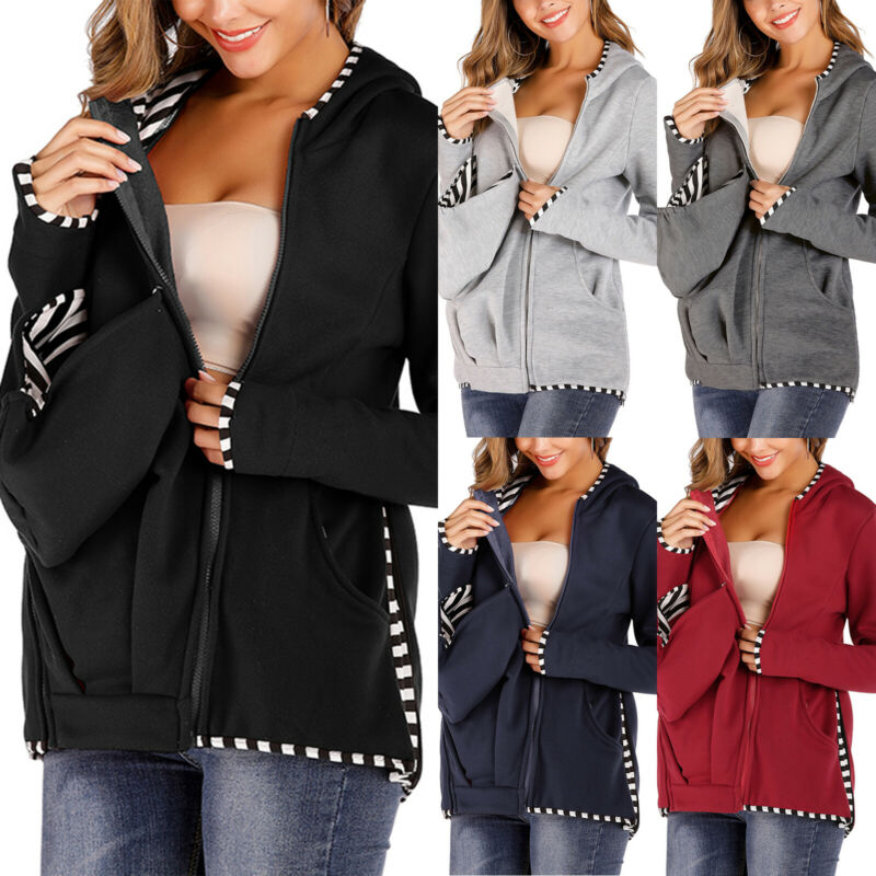 Pregnant Women Solid Long Sleeve Carrier Baby Holder Hoodie Breastfeeding Zip 2