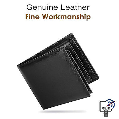Trifold Wallet RFID BLACK GENUINE LEATHER LUXURY BIFOLD SLIM MENS ID NEW 2