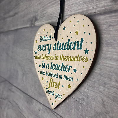 Gift For Teacher And Assistant Wood Heart Plaque Thank You Gifts Leaving School 7