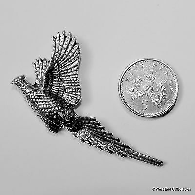 Rising Pheasant Pewter Pin Brooch-British Artisan Signed Badge- Shooting Hunting 2