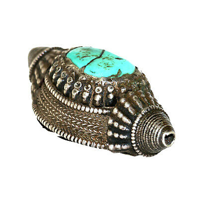 (2549) Antique element of headdress Ladakh/Tibet. Turquoises and silver 4