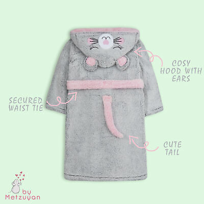 Girls Dressing Gown Novelty Mouse Kids Hooded Robe Fluffy Thick Snuggle Fleece 4