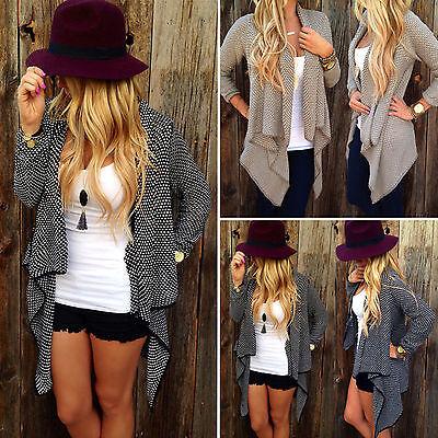 Womens Waterfall Cardigan Sweater Jumper Long Sleeve Irregular Coat Outwear US