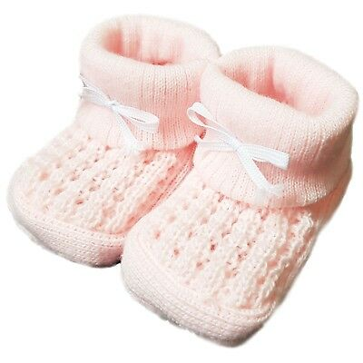 New Baby Babies Boy Girl Knitted Booties White Pink Blue Cream Size NB-3M Shoes 5