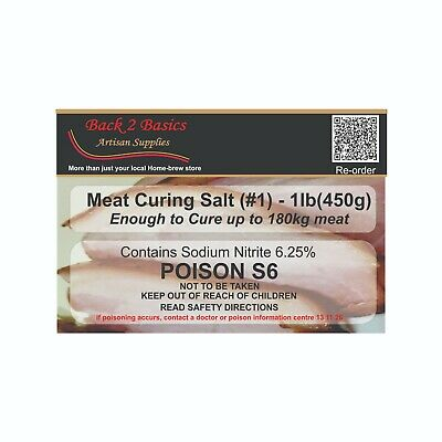 Meat Cure Salt #1 (6.25%) - 450g Jerky Ham & bacon Insta-cure, pink salt, Curing 2