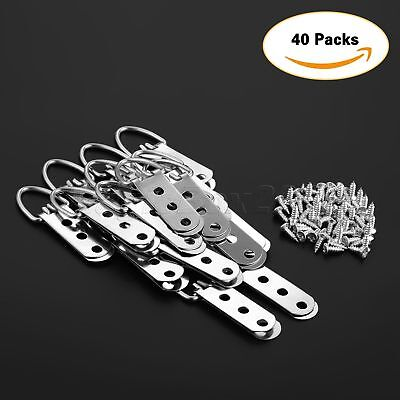 20/40Pcs 64*23mm Heavy Duty D-Ring Picture Hangers Frame Hanging 3 Hole + Screws 2