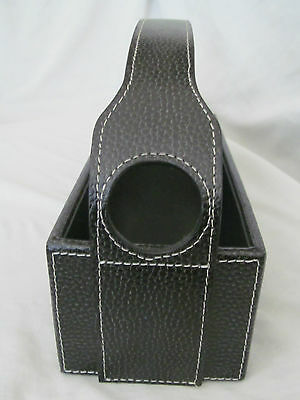 Brand New Bey Berk Black Pebbled Leather Wine Bottle Cradle Carrying Case 2