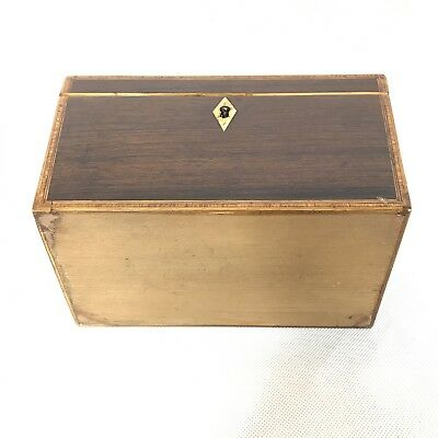 Fine Antique Regency Rosewood Satinwood Inlaid Two Section Tea Caddy C1820 6