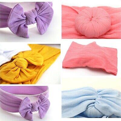 Baby Girls Bow Bun Turban Headband Hair band Head Wrap Cute Kids Plain Stretch 11