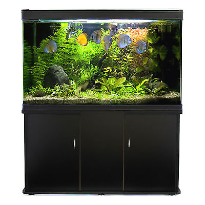 Fish Tank Cabinet Aquarium LED Light Tropical Marine Large Black 4ft 300 Litre 2
