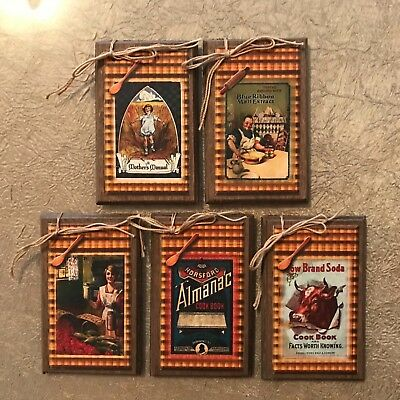 Cook Hang Tags Set6g **NEW** 5 Handcrafted Prim Wooden VINTAGE COOK Ornaments