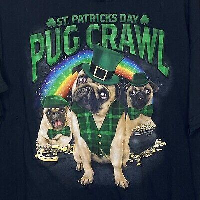 New Mens 2XL 50-52 T-Shirt St Patrick/'s Day Pug Crawl Dog Black 100/% Cotton