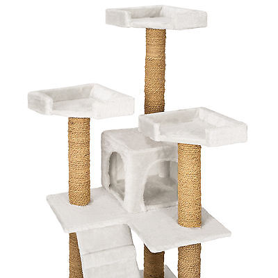 Arbre à chat griffoir grattoir jouet geant 2 grottes 169cm pour chats blanc