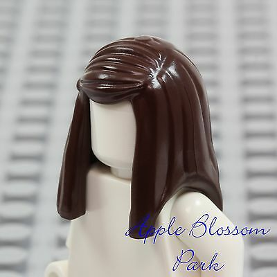 New Lego Female Girl Minifig Long Dark Brown Hair Straight Side