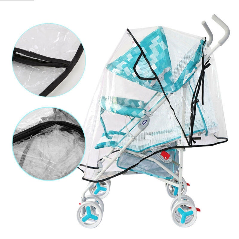 Universal Baby Pushchair Stroller Raincover Clear Rain Cover Pram Buggy w Window 5