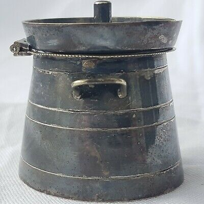Unusual Silver Plate (E.P.N.S) Milk Churn Form Mustard Pot ~ Curiosity ~ Unique 6