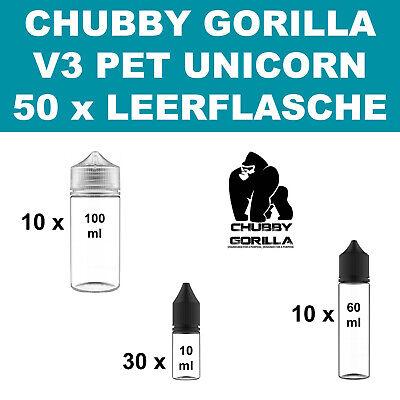 50 x Chubby Gorilla V3 PET Unicorn E Liquid Leerflasche 30x10ml 10x60ml 10x100ml 2