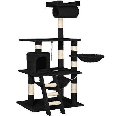 Arbre à chat griffoir grattoir geant sisal avec hamac lit 141 cm hauteur noir 2