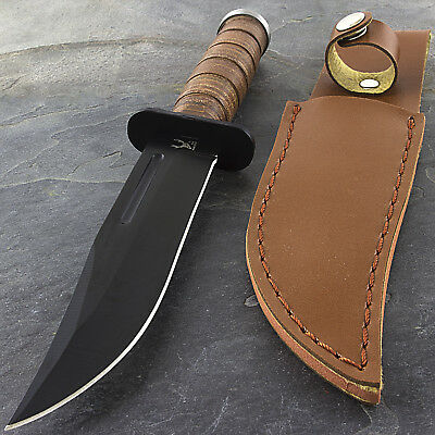 "8.5"" WOOD HANDLE HUNTING KNIFE w/ SHEATH Bowie Survival Skinning Blade Combat 2"