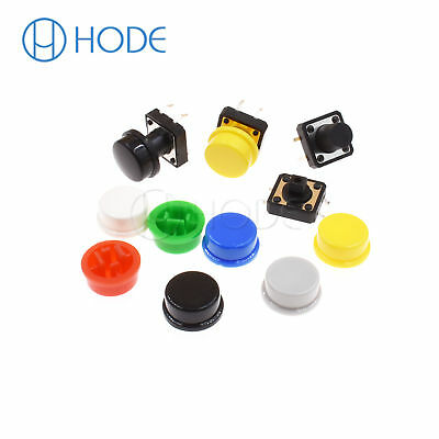 Momentary Tactile Push Button Touch Micro Switch 4P PCB Caps 12x12x7.3mm-12mm UK 7