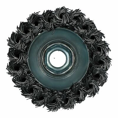 """Professional 80mm Wire Twist Knot Cup Brush for 4-1/2"""" M14 Angle Grinders 3"""
