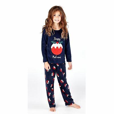 Kids Happy Christmas Fleece Pyjamas Pyjama PJs Boys/Girls Navy Age 5-13 Years 2