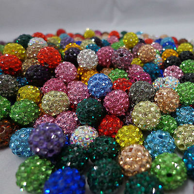 100Pc Czech Crystal Glass Rhinestone Pave Clay Disco Ball Spacer Loose Bead 10MM 3