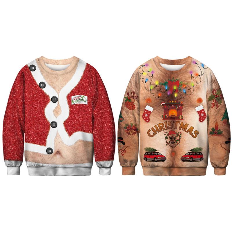 Unisex Ugly Christmas Sweater Santa Xmas Pullover Jumpers Casual Sweatshirt Tops 6