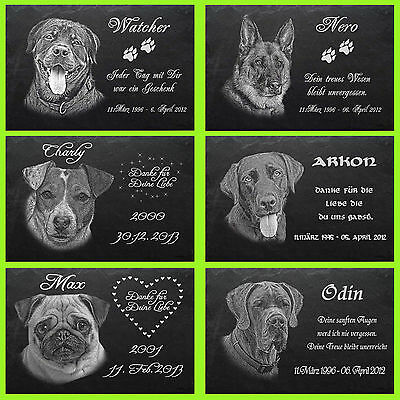 GRABSTEIN Tiergrabstein Gedenkstein Hunde Hund - 043 ► Foto Gravur ◄ 40 x 25 cm 2