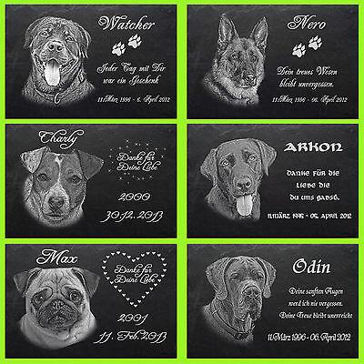Tiergrabplatte Tiergrabstein Gedenkstein Hunde Hund 020► Foto Gravur ◄ 50 x 25cm 2
