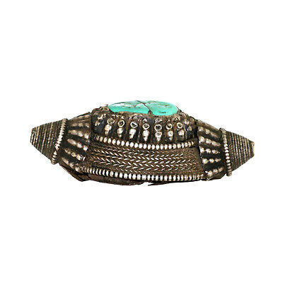 (2549) Antique element of headdress Ladakh/Tibet. Turquoises and silver 5