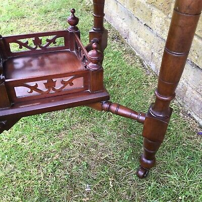 Antique Hall Side Table Victorian Occasional Old Turned Mahogany Stretcher 8