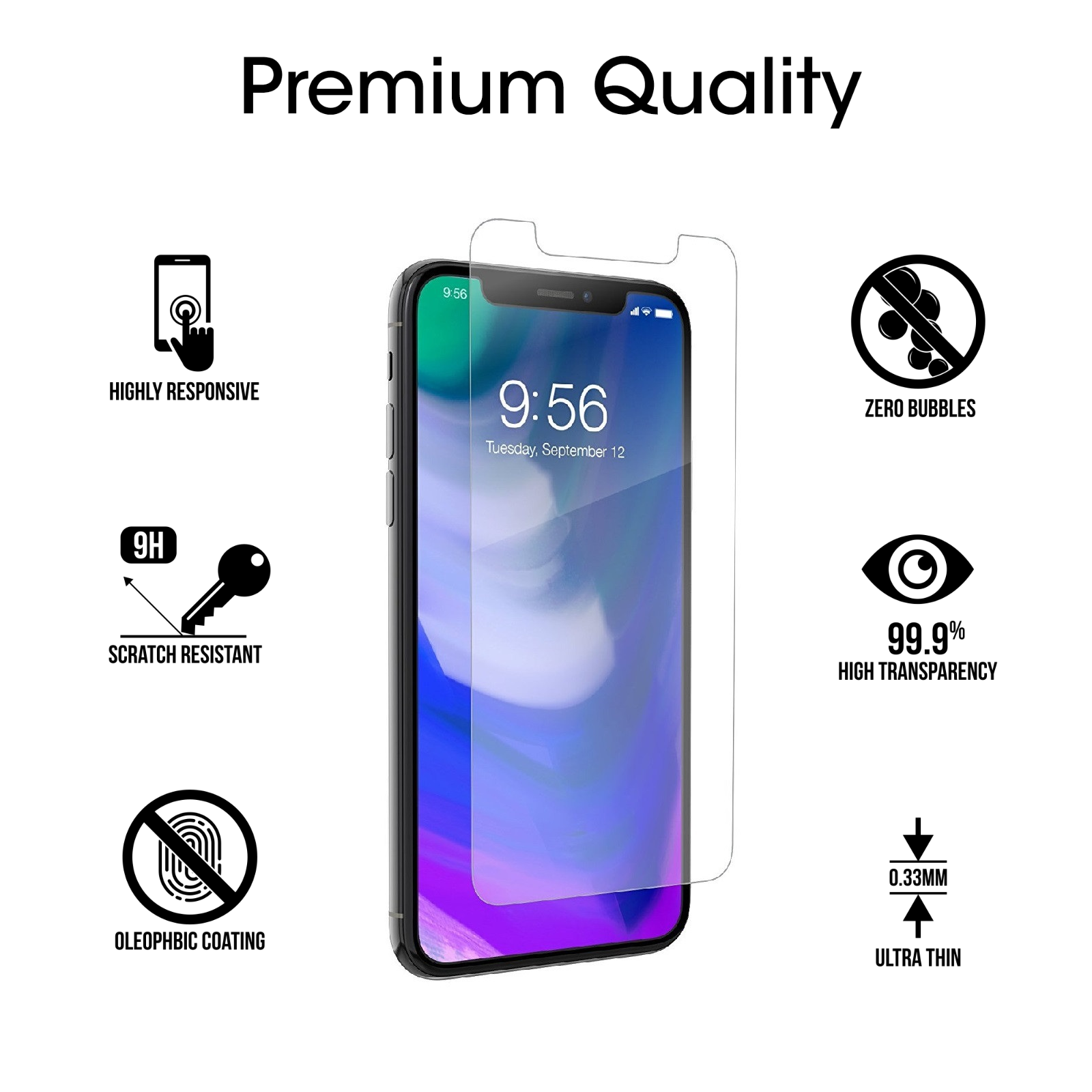 "Ultra-Clear 2.5D Tempered Glass Screen Protector Film iPhone Xs Max 6.5"" / X LOT 2 2 of 8 ..."