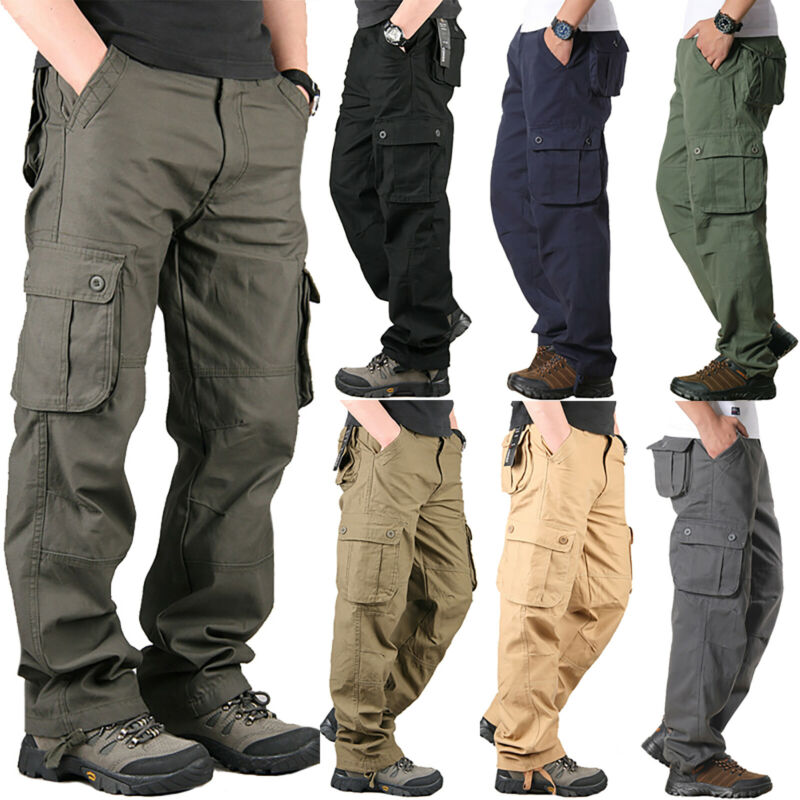 Mens Combat Cargo Trousers Work Tactical Military Army Camo Chino Long Pants AU 7
