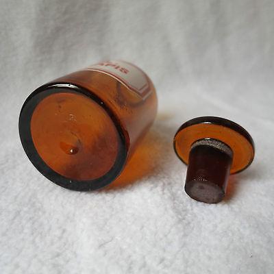 alte Apothekerflasche Braunglas mit Schliff-Stopfen Ol. Sinapis Separanda Senföl 4