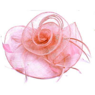 Rose pink large fascinator on hair clip 3