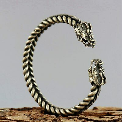 Collect Old Miao Silver Hand-Carved Myth Double Dragon Moral Bring Luck Bracelet 3
