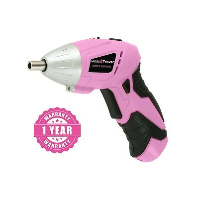 Pink Power PP481 3.6V Cordless Electric Screwdriver Kit with Charger & Bit Set