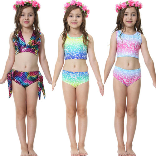 e1b694e575b01 Kids Girl 3Pcs Mermaid Tail Swimming Bikini Set Swimwear Swim Costume  Swimmable 3 3 of 12 ...