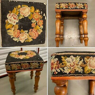🌟Shabby Antique Wooden Square Tapestry Top Stool Seat Chair 11