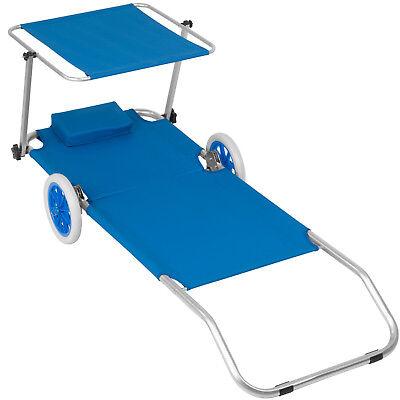 Chaise longue de plage jardin pliante transat bain de soleil toit aluminium bleu 4