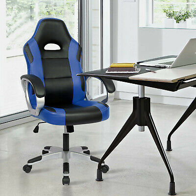 Executive Racing Gaming Office Chair PU Leather Swivel Sport Computer Desk Blue 2