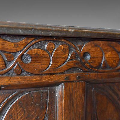 Antique Coffer, Large, English Oak Chest, Early 18th Century Trunk Circa 1700 9