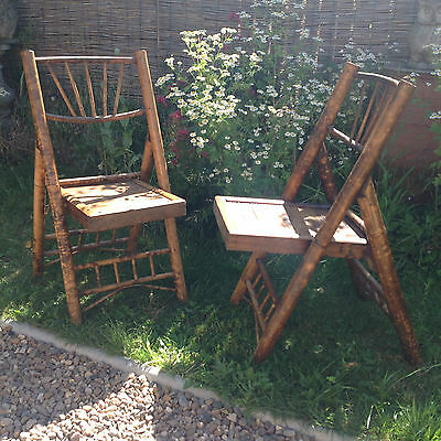 ART DECO BAMBOO CAMPAIGN STYLE FOLDING PICNIC CHAIRS x2