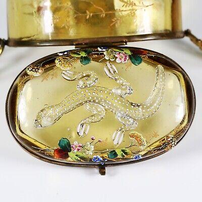 Antique Moser Bohemian amber art glass Casket hinged box enameled applied lizard 6
