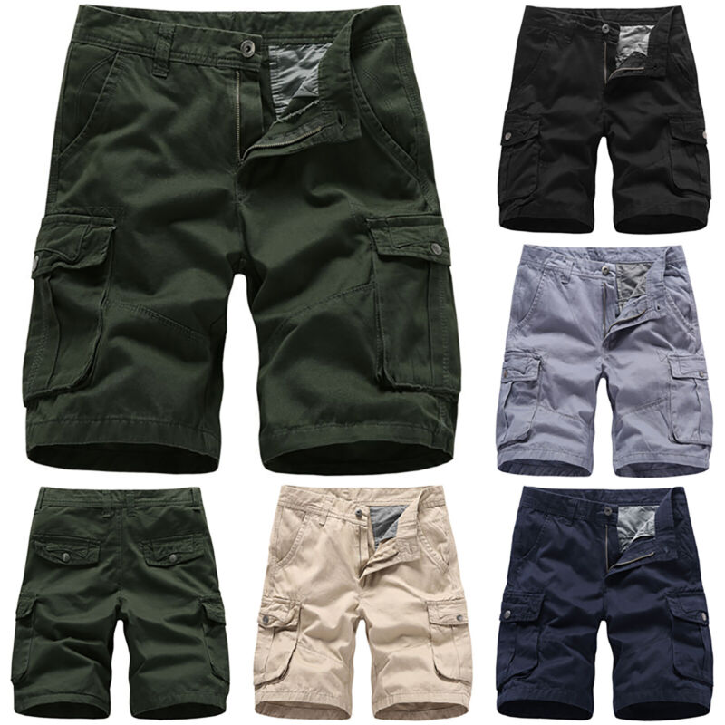 Mens Cargo Combat Work Shorts Trousers Army Military Hiking Camping Half Pants 10