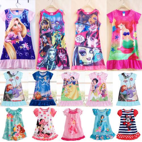 Kids Girls Cartoon Nightie Nightdress Sleepwear Pyjamas Nightgown T Shirt Dress 2